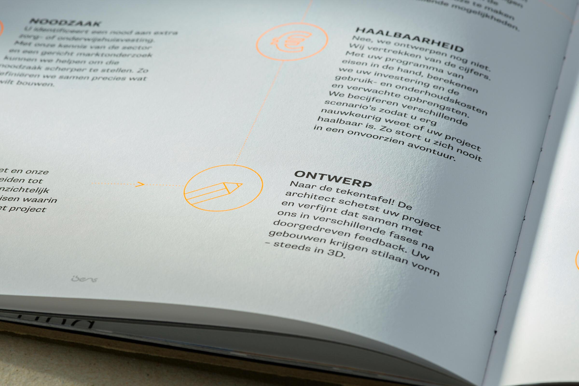 Boek met fluo inkt voor Ibens